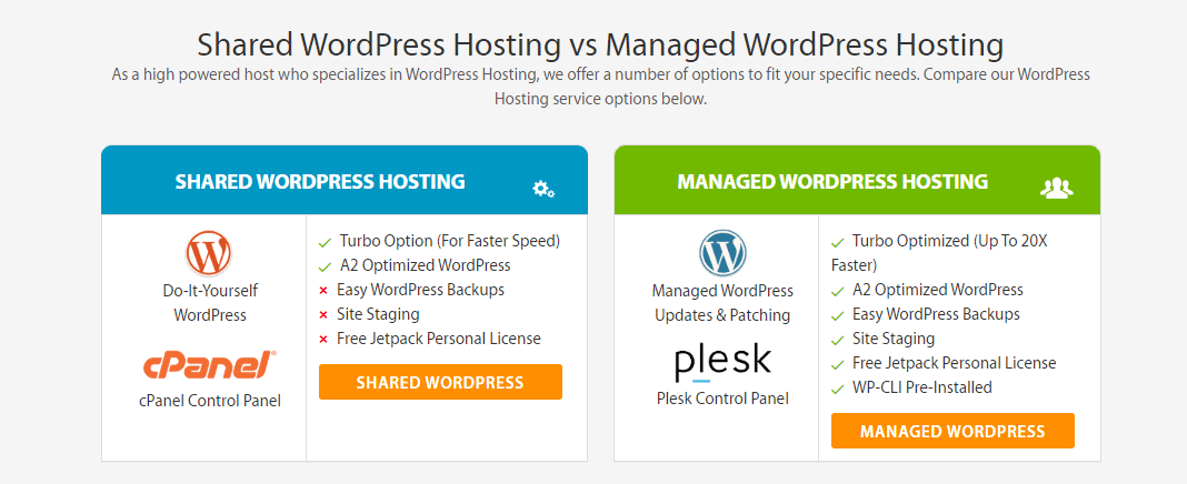 A2 Hosting offers cPanel for shared WordPress hosting, but Plesk for Managed WP hosting
