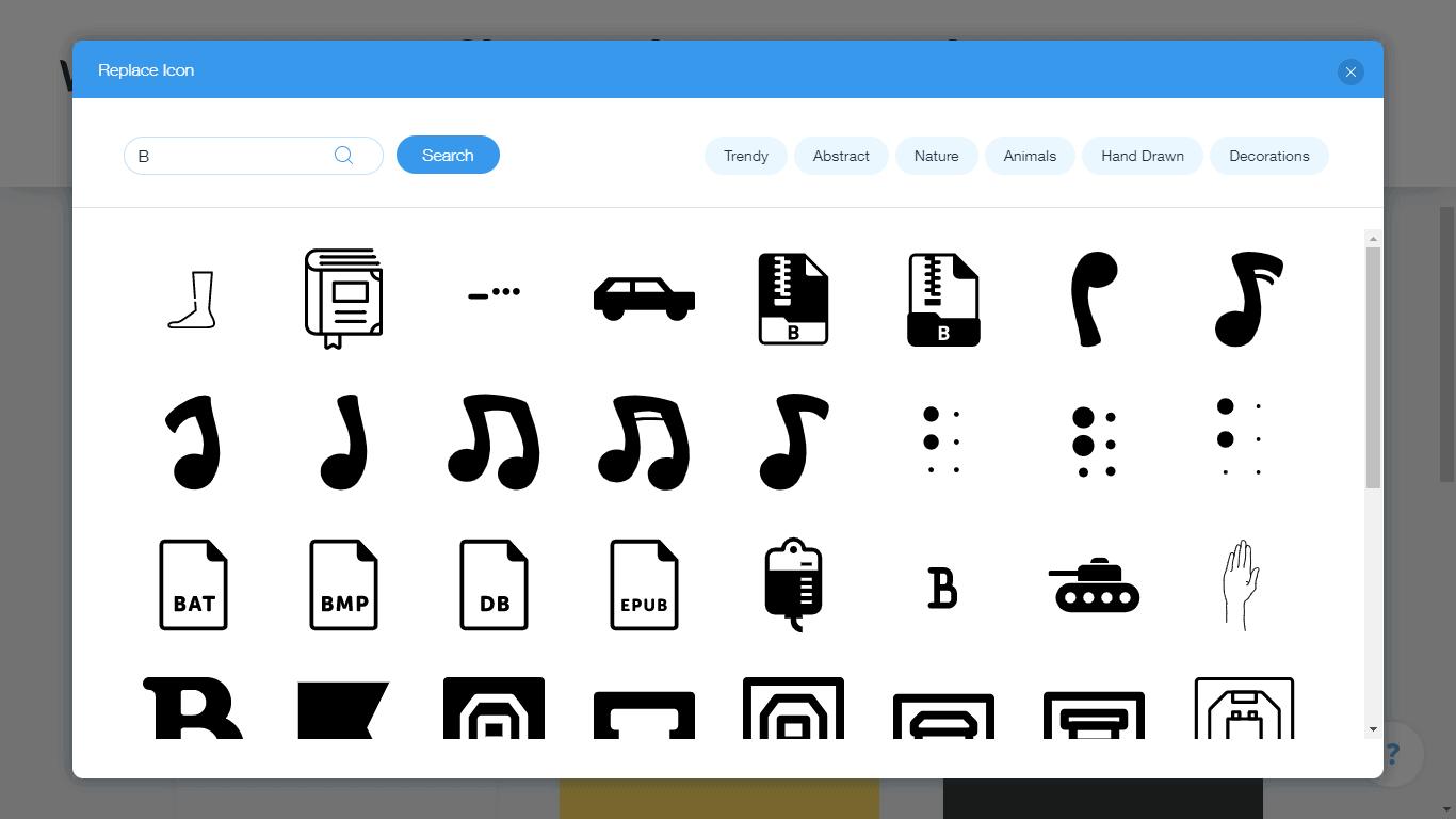 Wix Logo Maker screenshot - B icons
