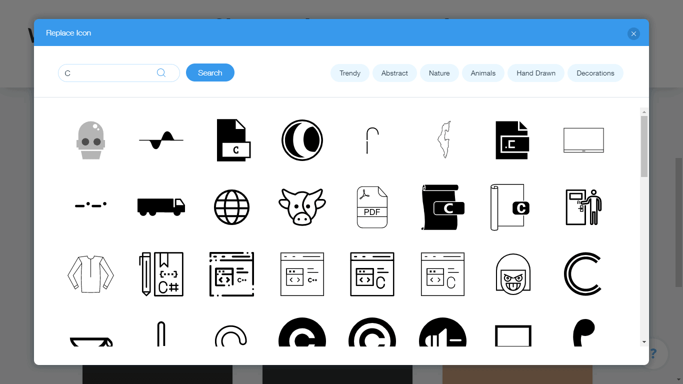 Wix Logo Maker screenshot - C icons