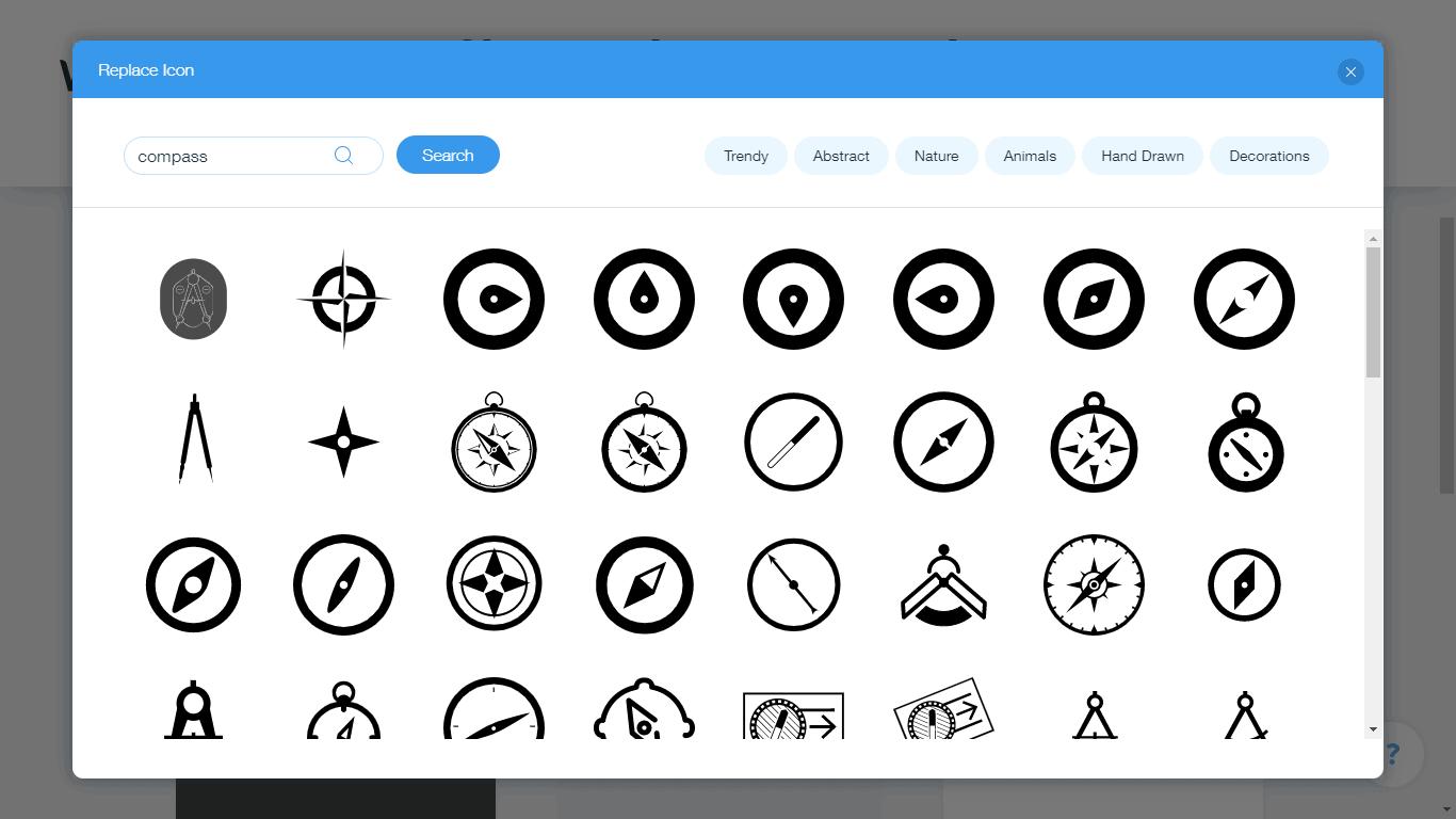 Wix Logo Maker screenshot - compass icons