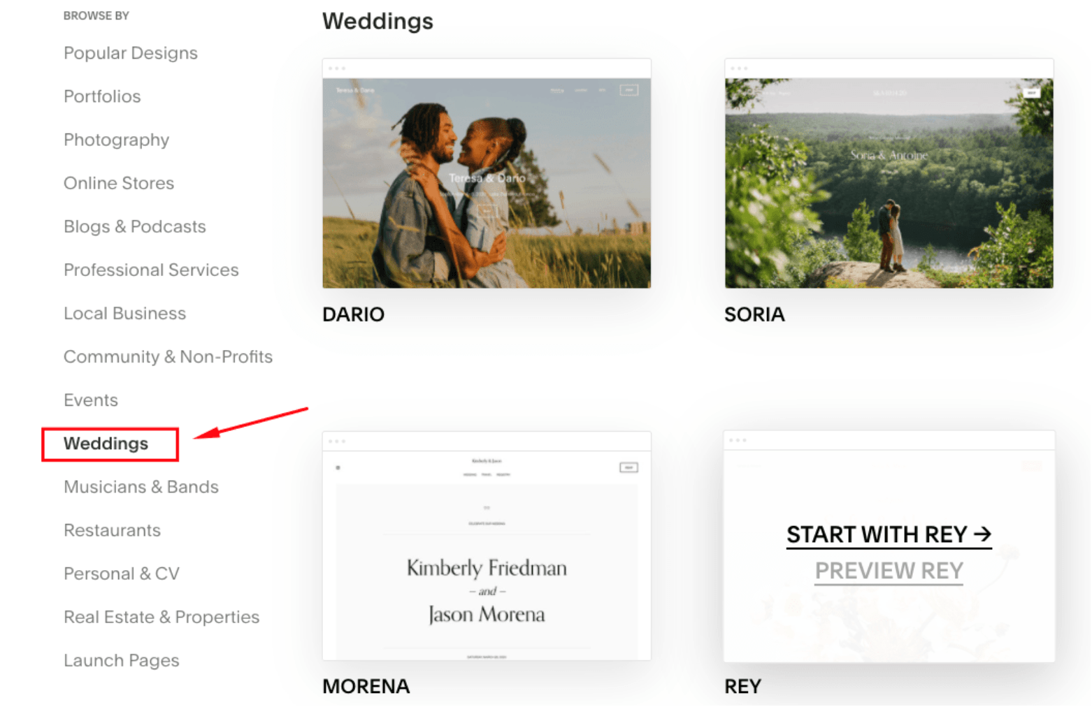 Squarespace wedding templates