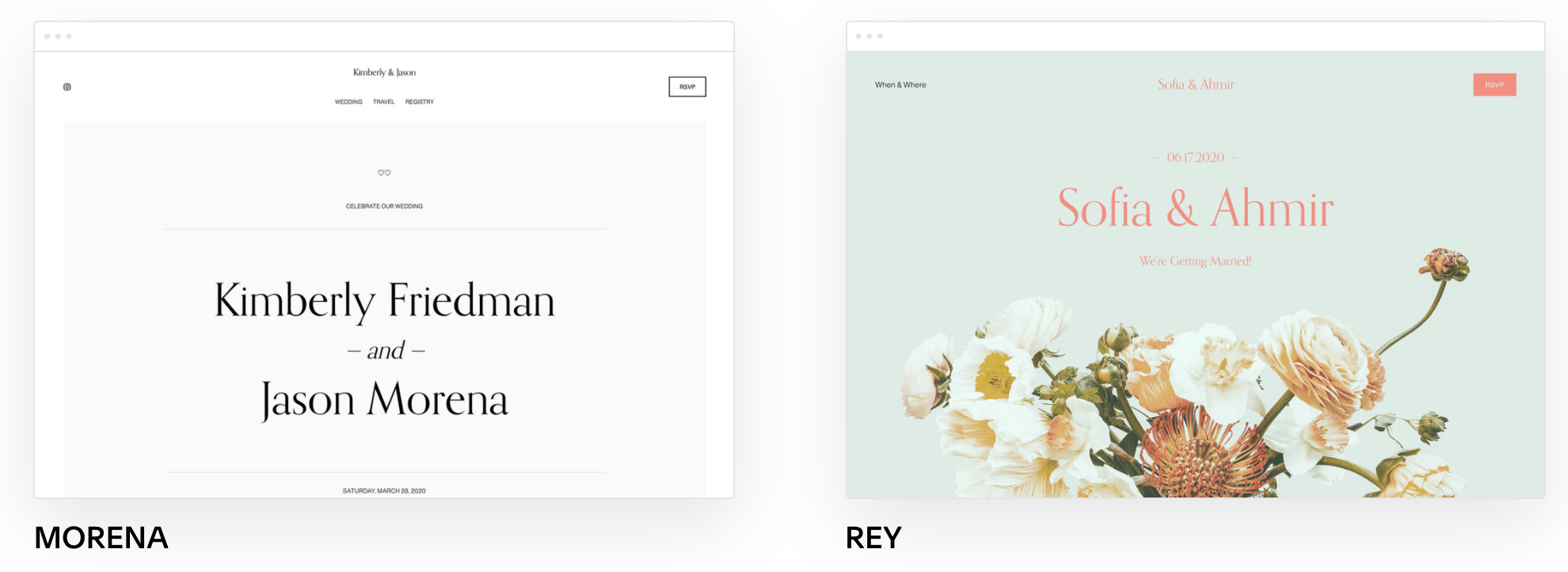 Additional Squarespace wedding templates
