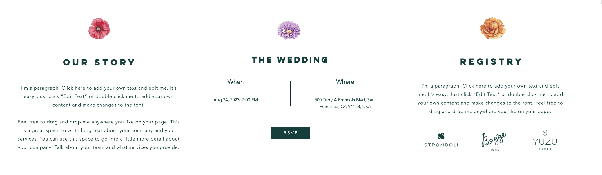 Wix's Floral Wedding Invitation