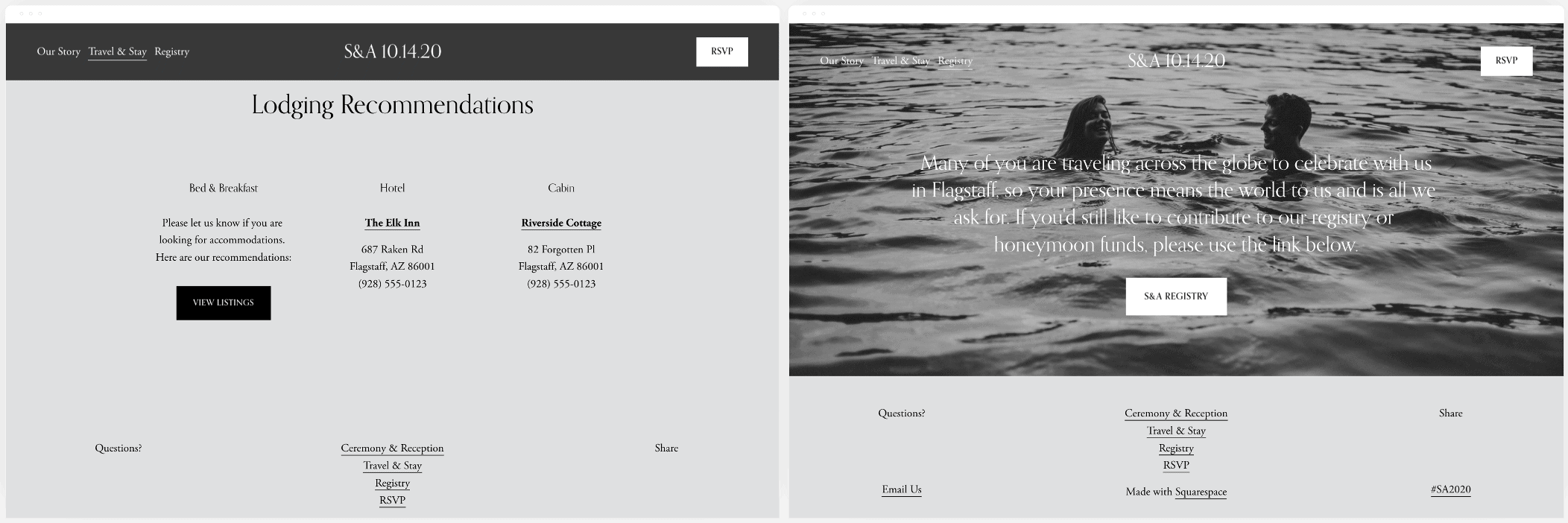 Pages from Squarespace's Soria Template