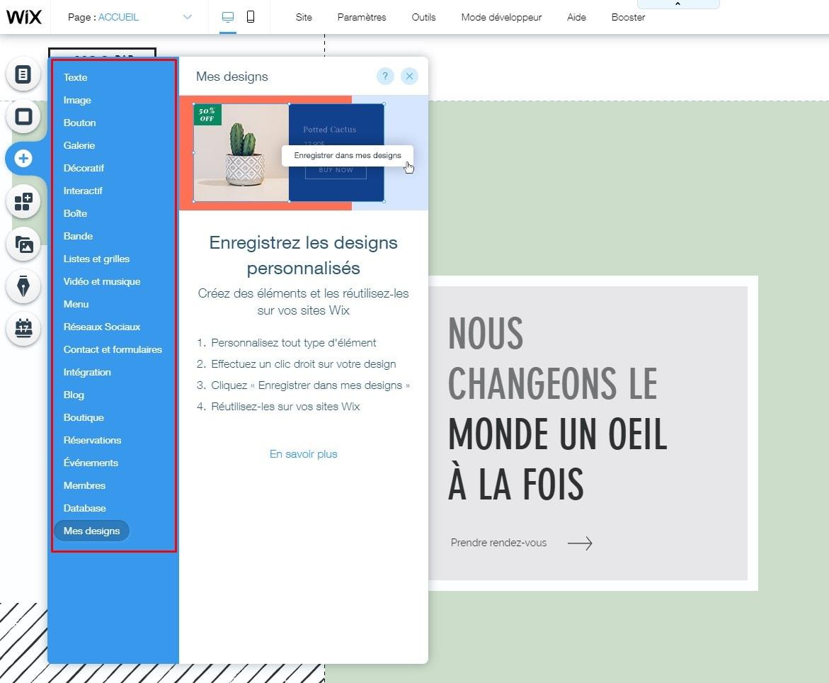 Wix website editor's menu
