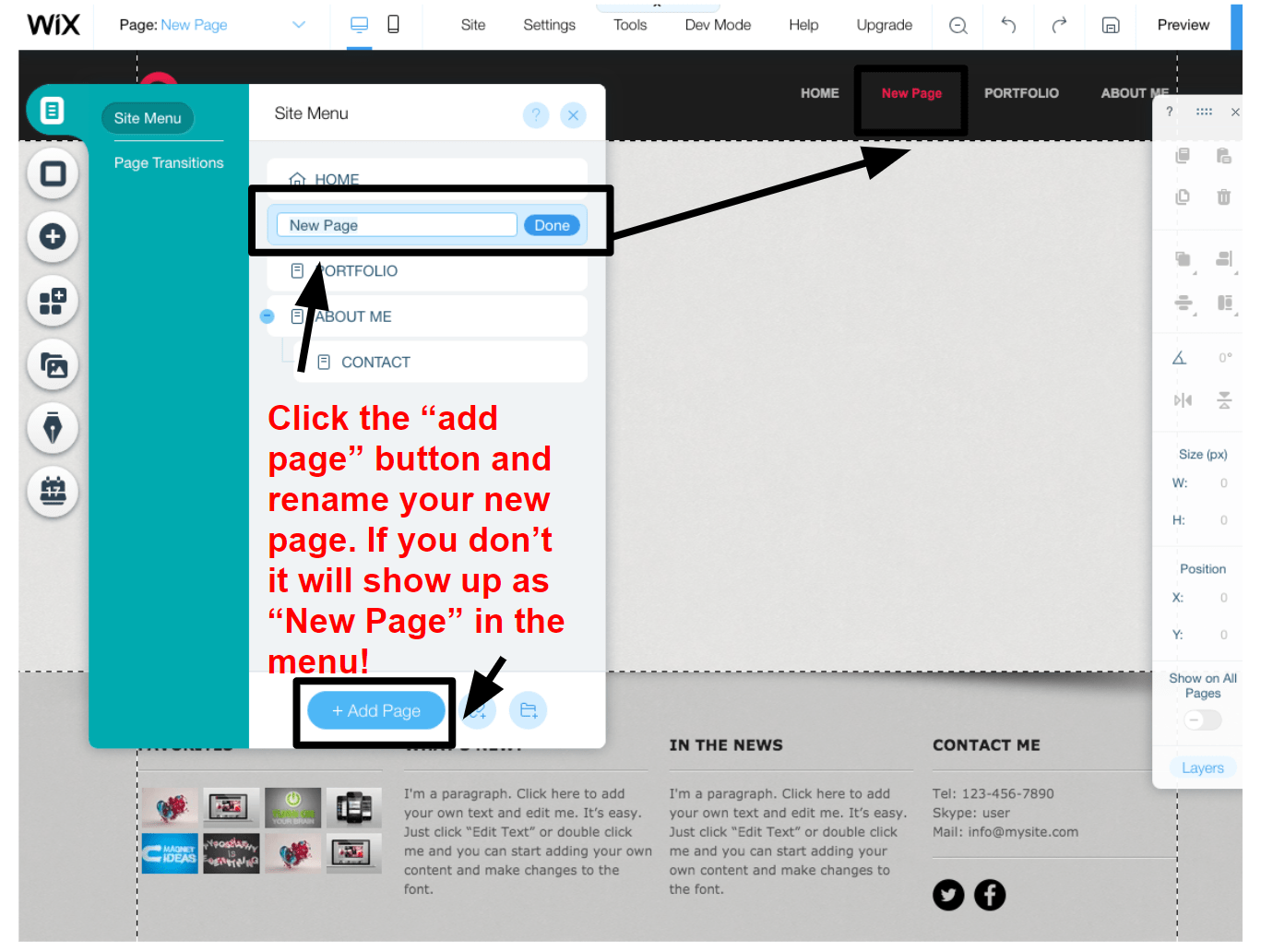 adding new pages in wix