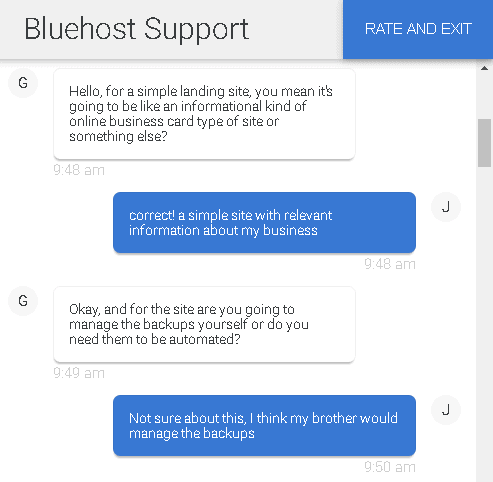 Bluehost customer support – live chat 1