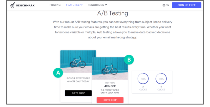 Benchmark's A/B Testing features – best email marketing solutions