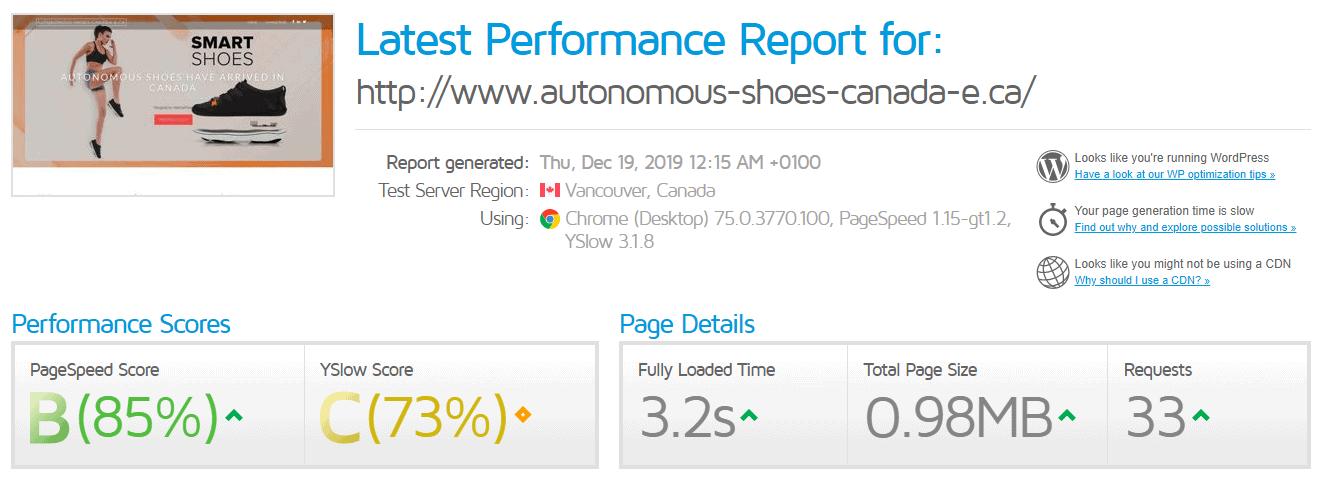 HostPapa GTmetrix test results