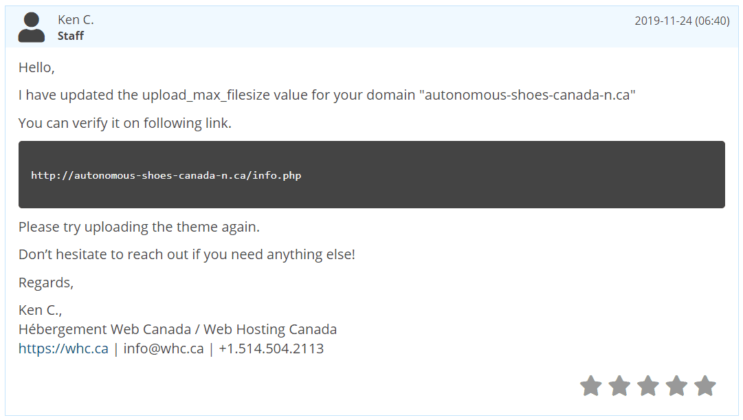 Web Hosting Canada's live chat support