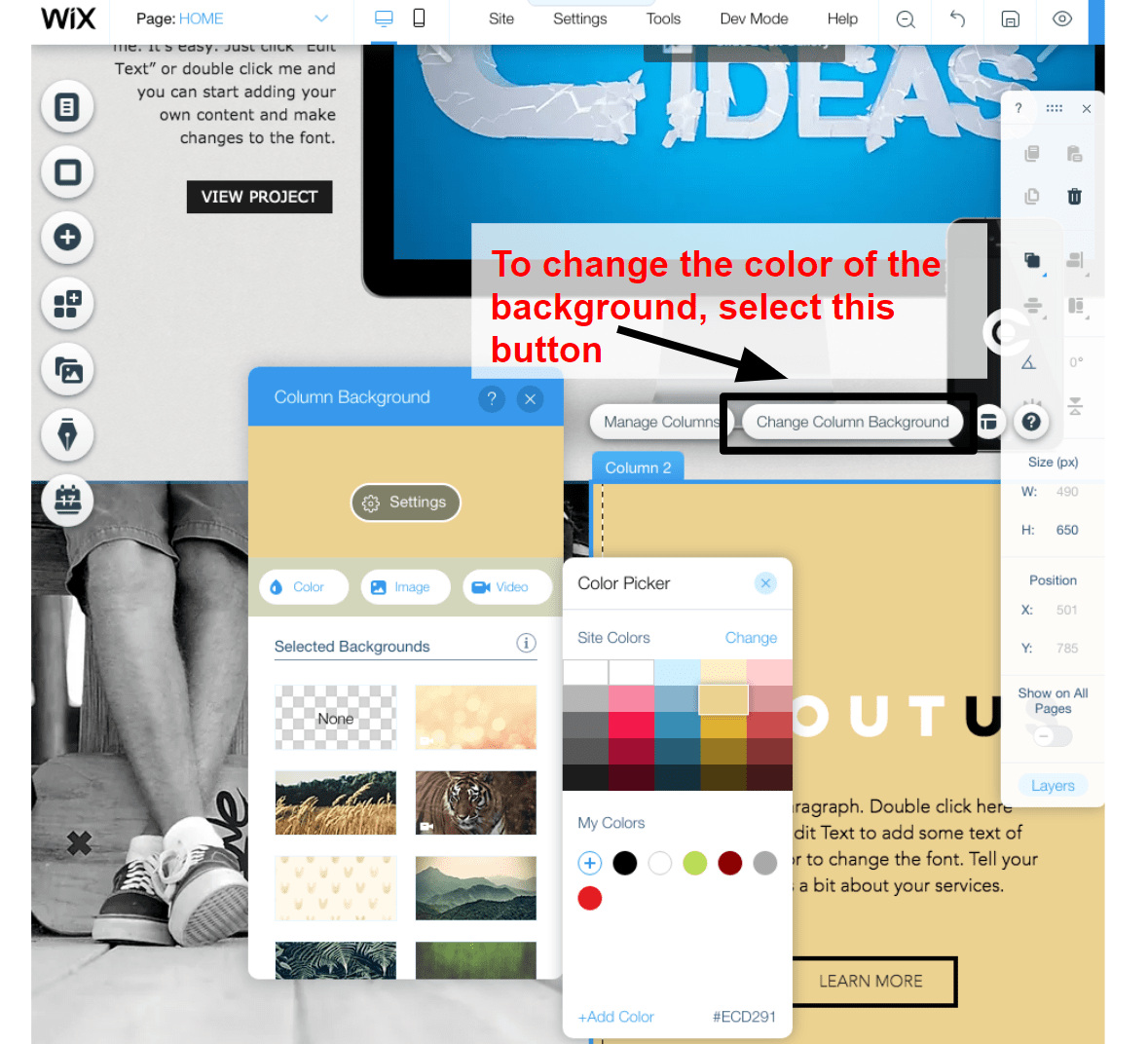 changing colors in the Wix editor