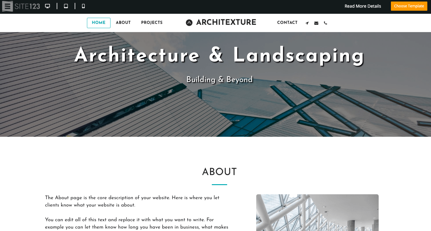 SITE123 Website Template for Architects