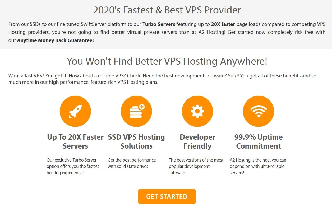 Features of A2 Hosting's VPS plans