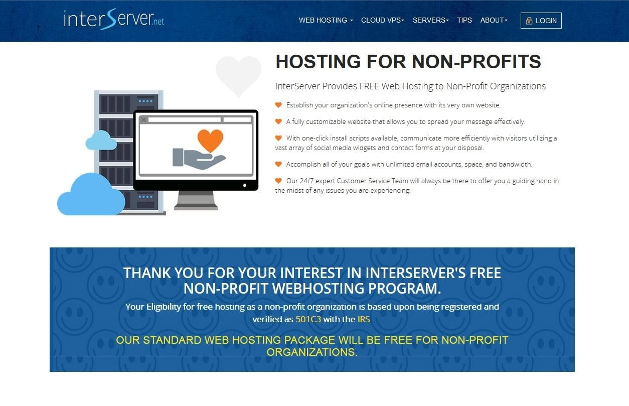InterServer provides a free non-profit web hosting program.