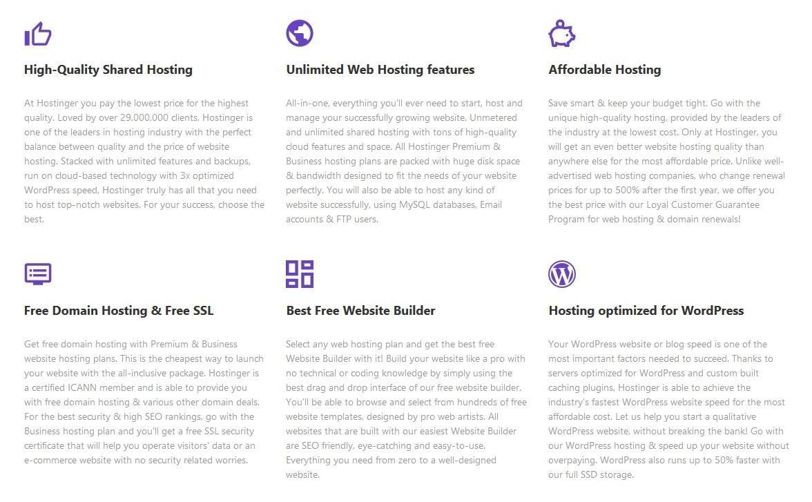 Hostinger's best features