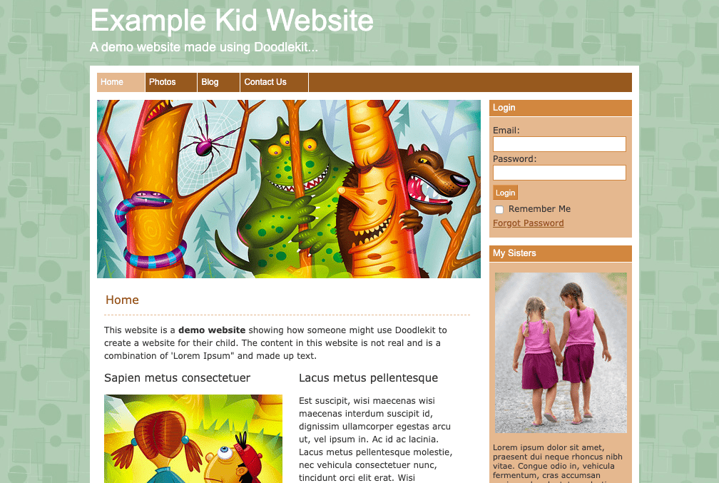 DoodleKit example kid website