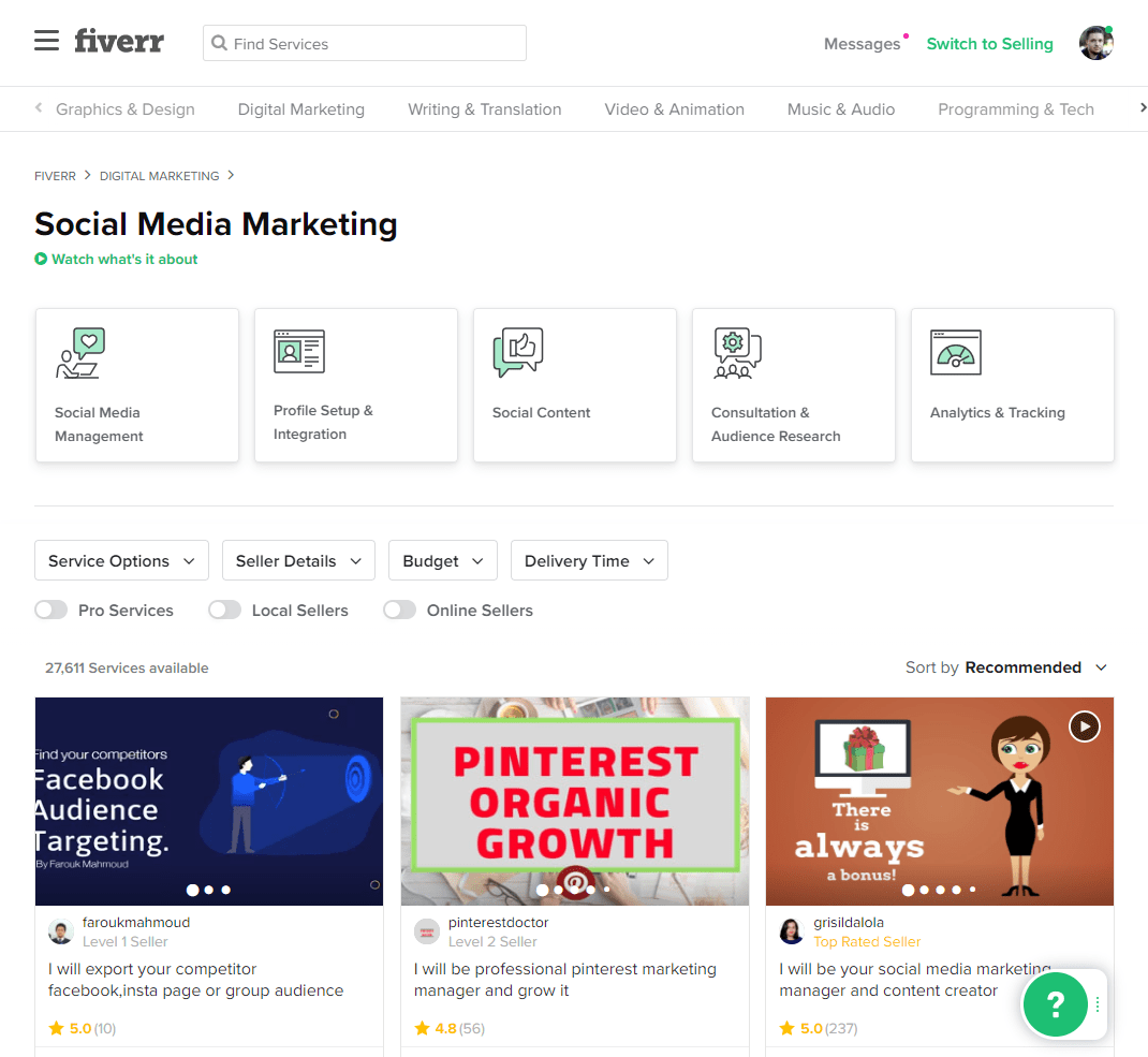 Fiverr gig search