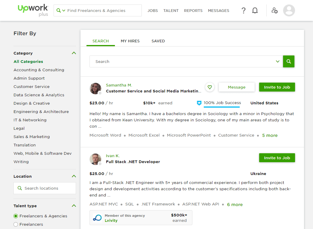 Upwork profile search