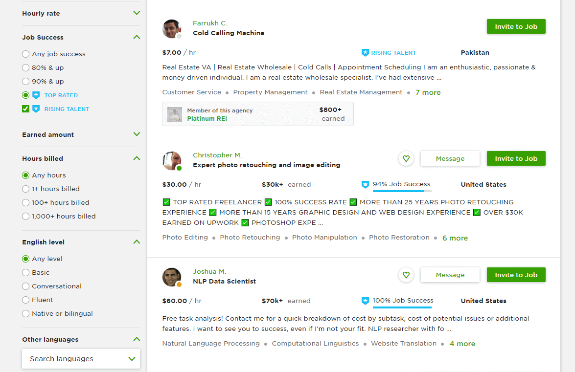 Browsing Top Rated profiles on Upwork