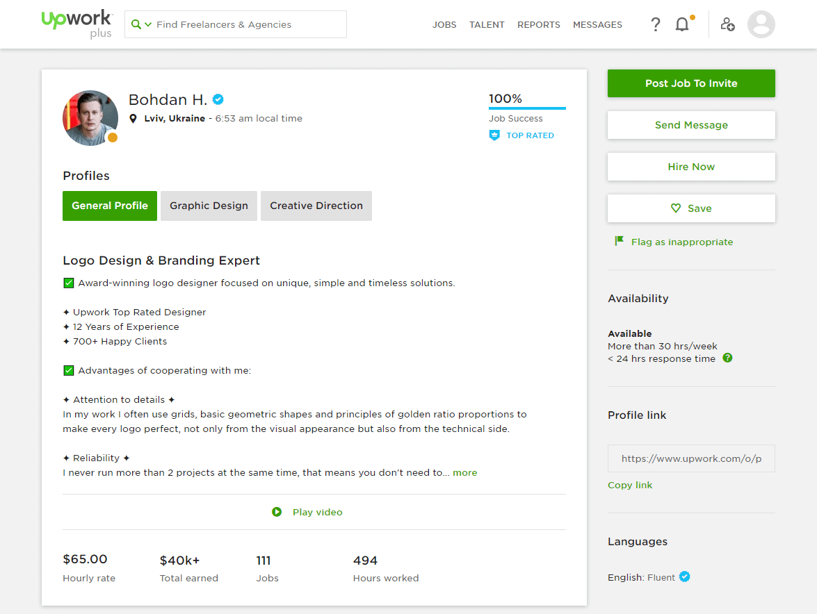 A user profile on Upwork