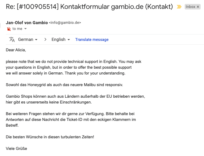 Gambio support email correspondance