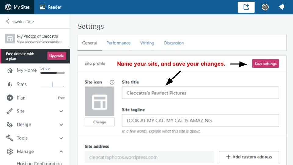the settings page where you can change your site's title