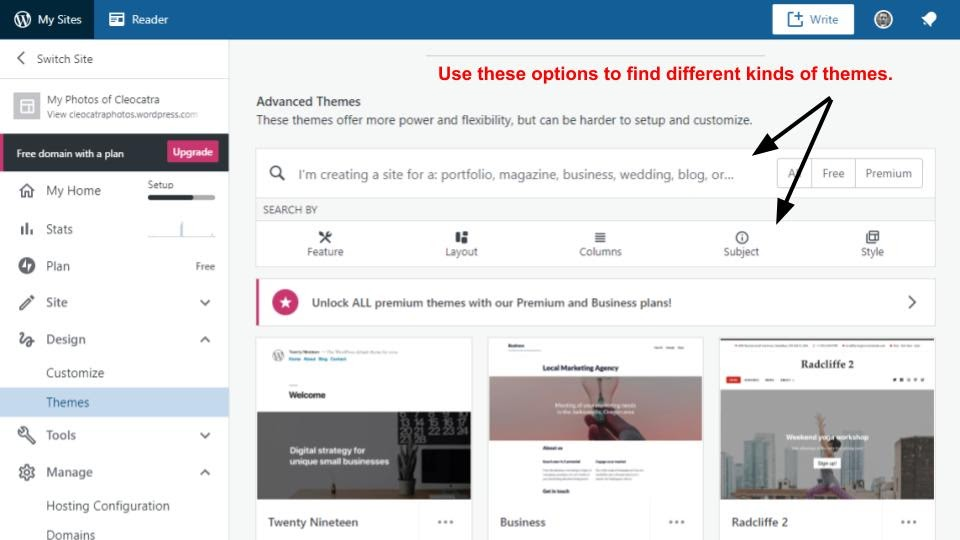The WordPress theme selector