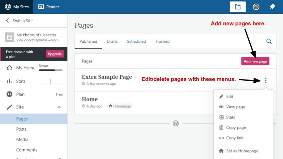 The WordPress page management screen