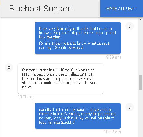 Bluehost's live chat support - speeds