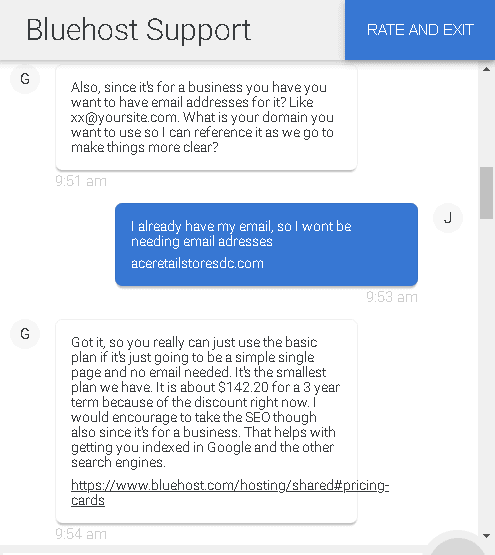 Bluehost's live chat support - email addresses