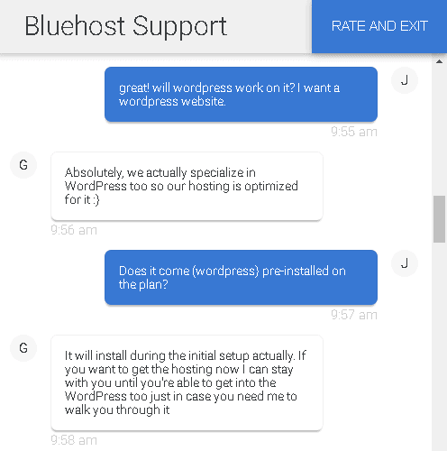 Bluehost's live chat support - WordPress