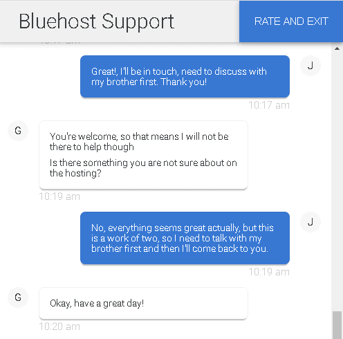 Bluehost's live chat support