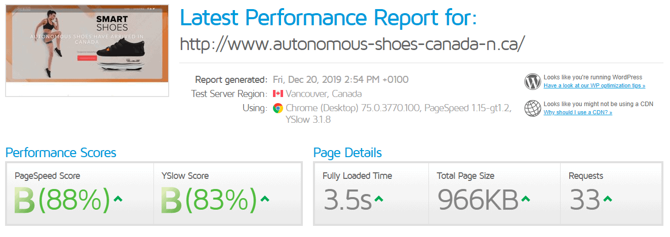 Web Hosting Canada GTmetrix test results