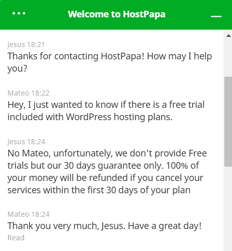 HostPapa customer support