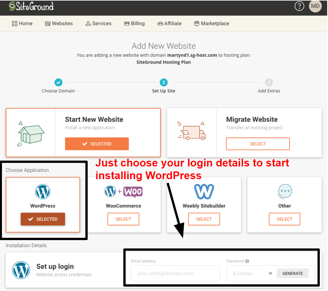 installing wordpress via siteground