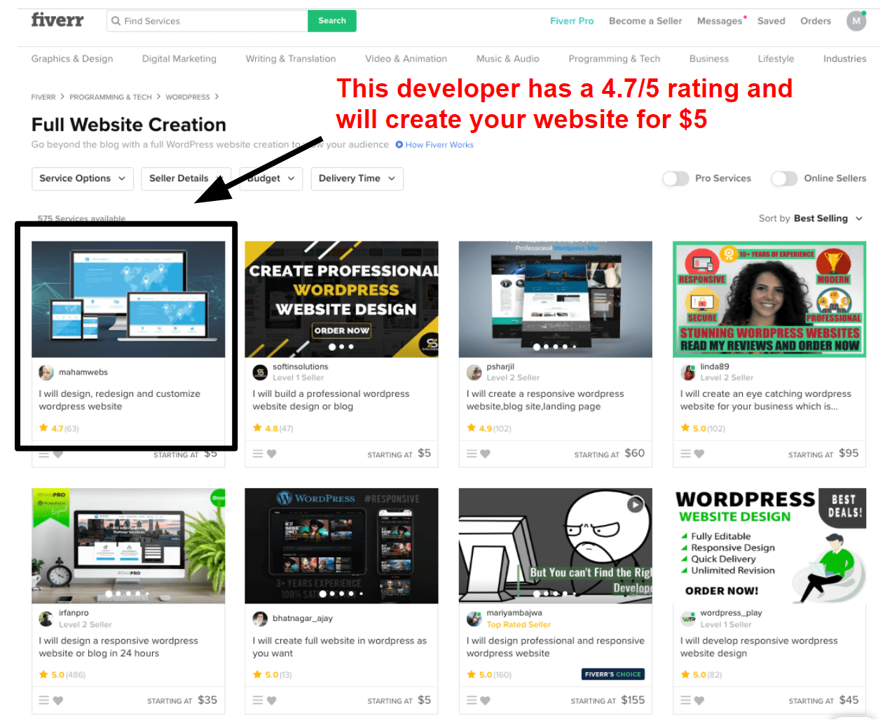 Low-cost web developers on Fiverr
