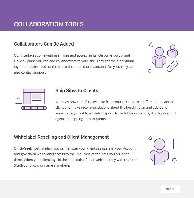 SiteGround's collaborative tools