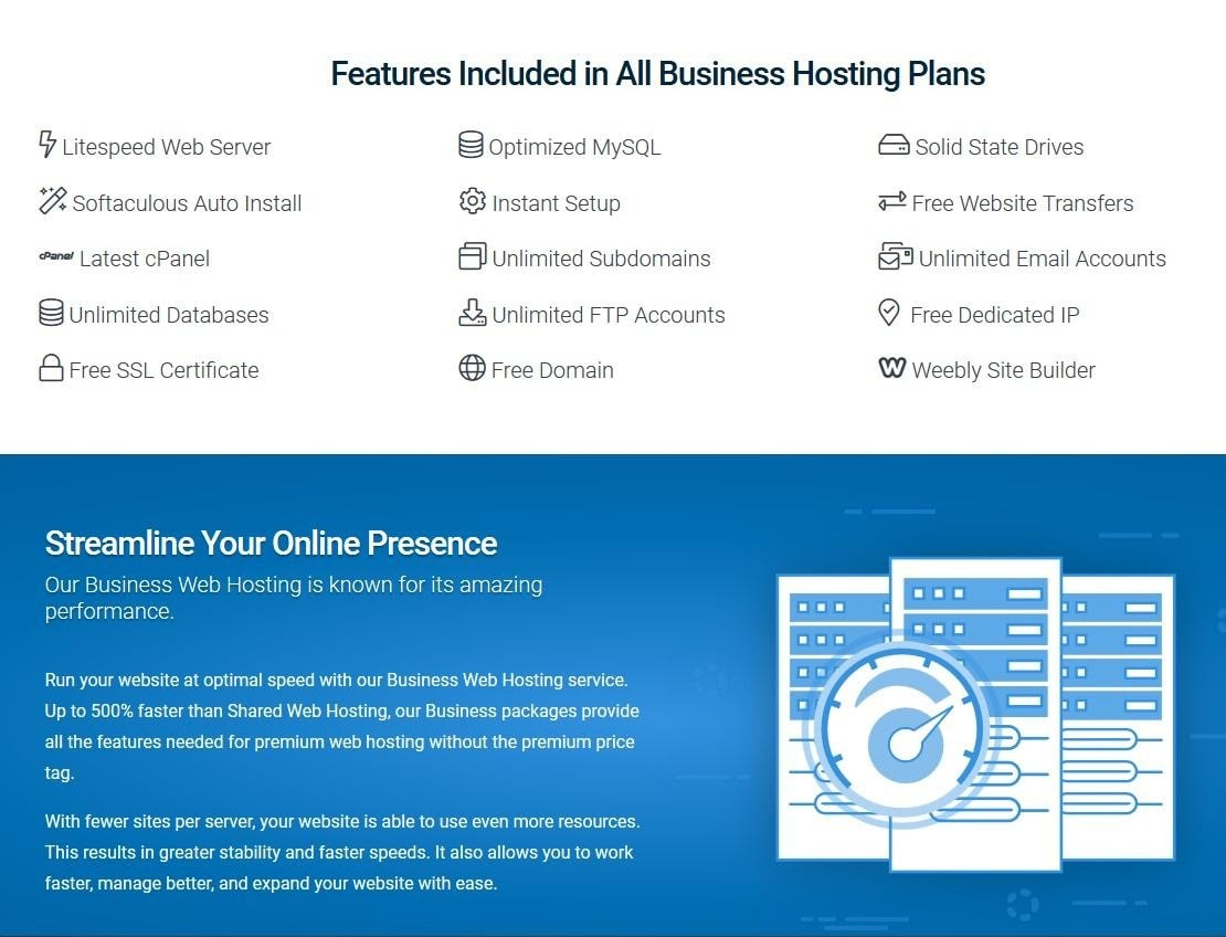Hostwinds Business hosting features