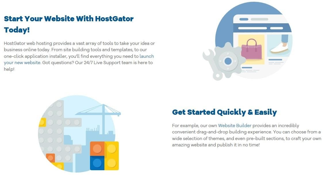 HostGator's site builder and templates