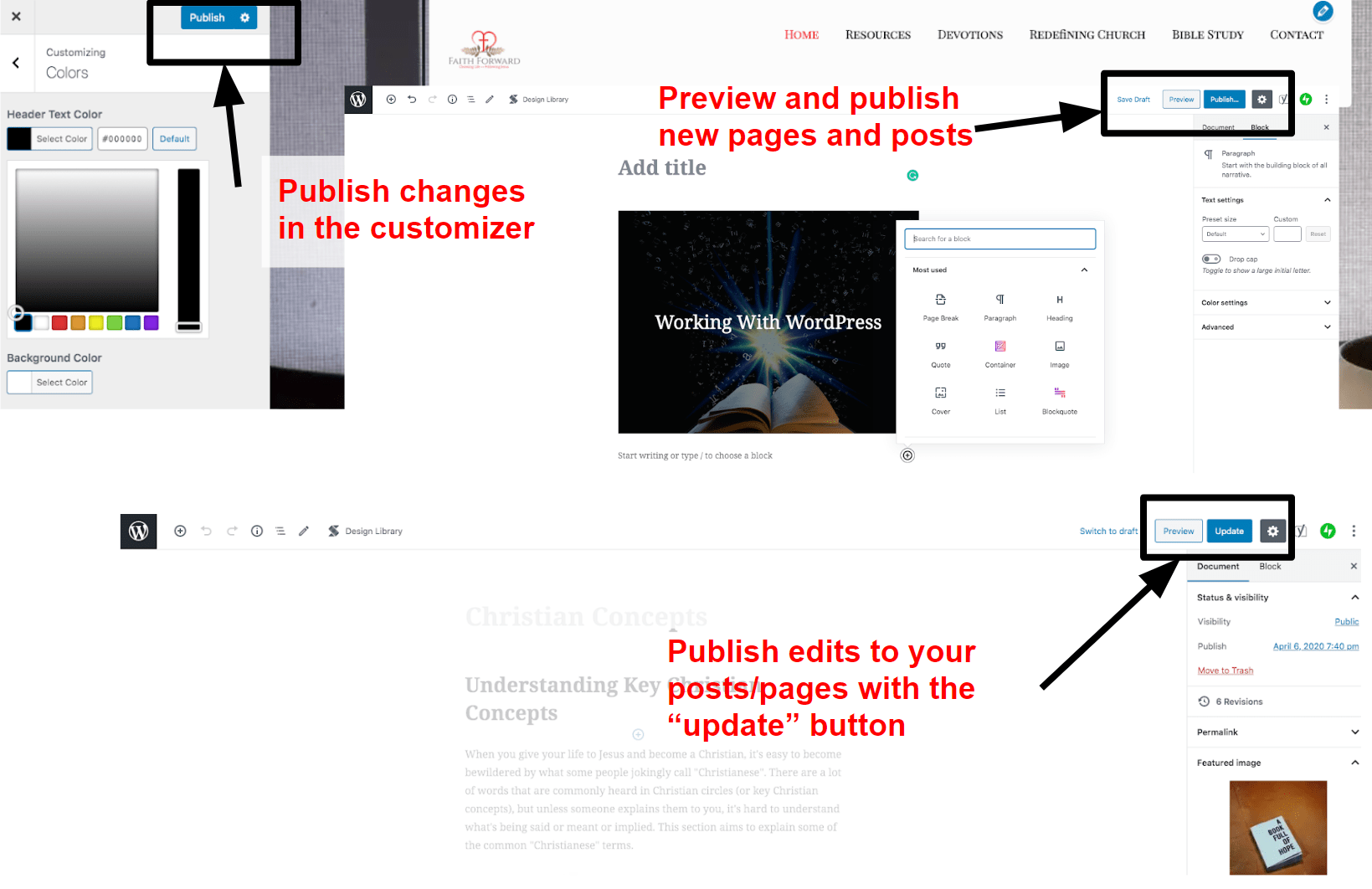 Publishing your website in WordPress