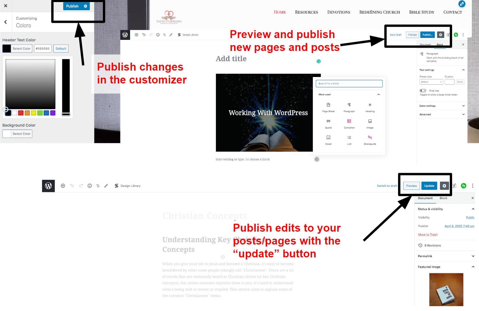 Publishing your website in WordPress