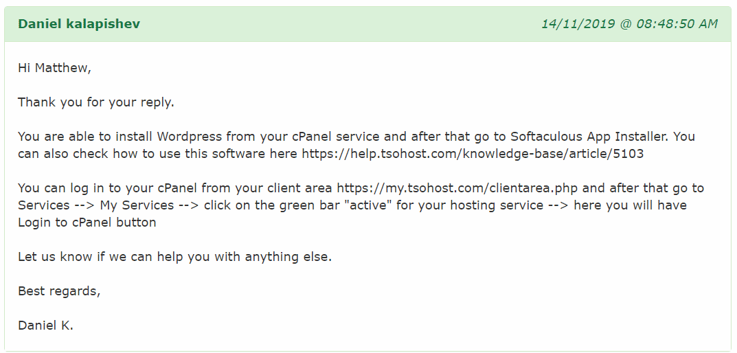 tsoHost's customer support