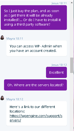 WP Engine's live chat support 2