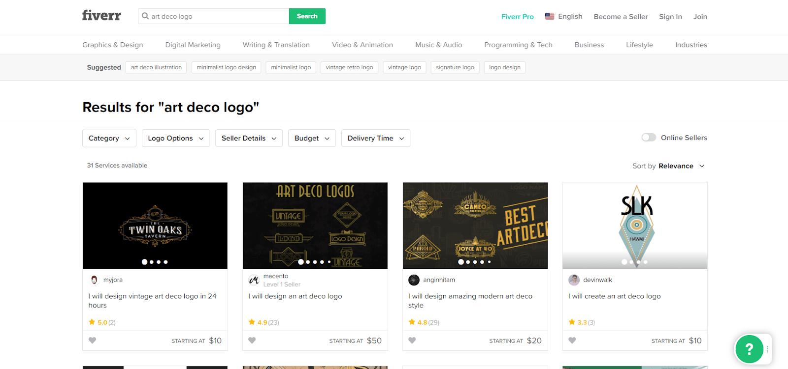 Fiverr screenshot - art deco logo designers