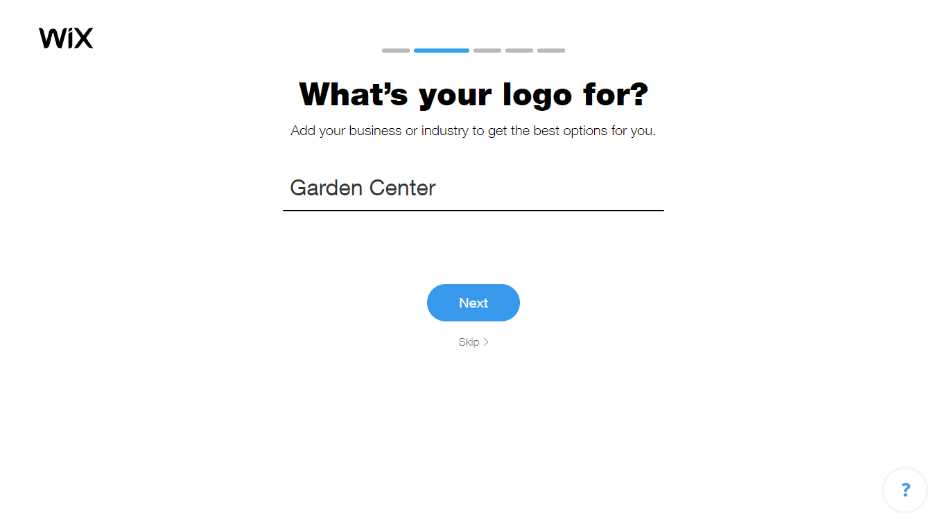 Wix Logo Maker screenshot - Choose industry option