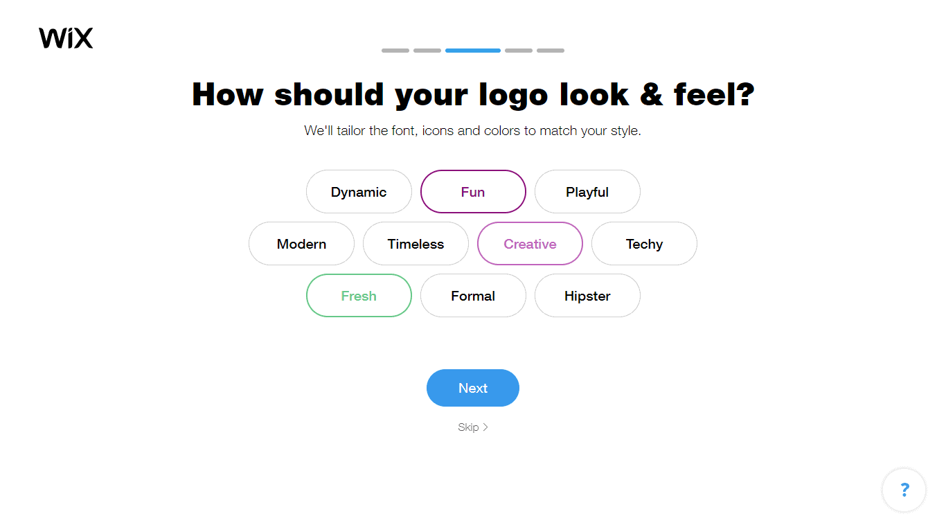 Wix Logo Maker screenshot - look & feel]