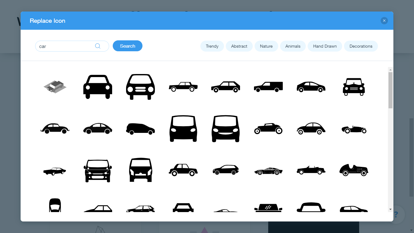Wix Logo Maker screenshot - car icons