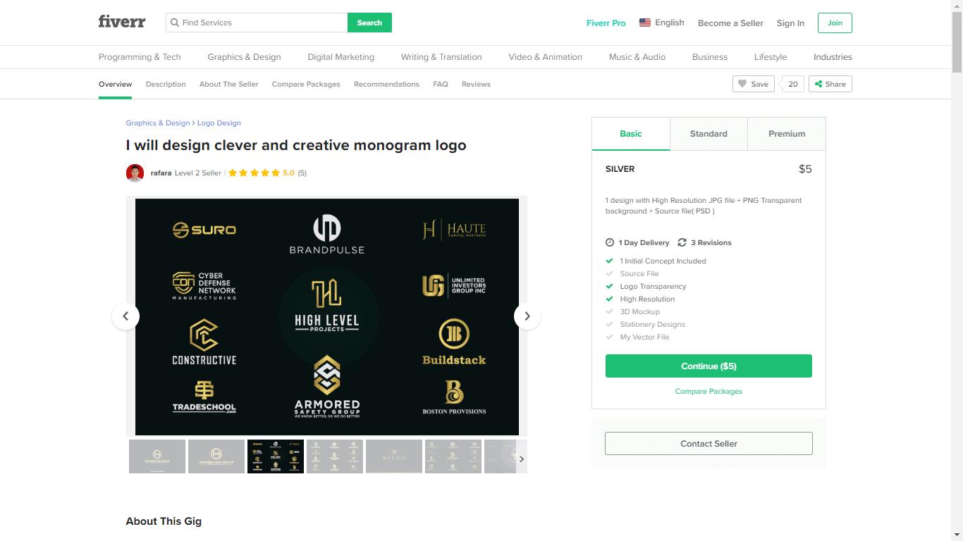 Fiverr screenshot - Package outline