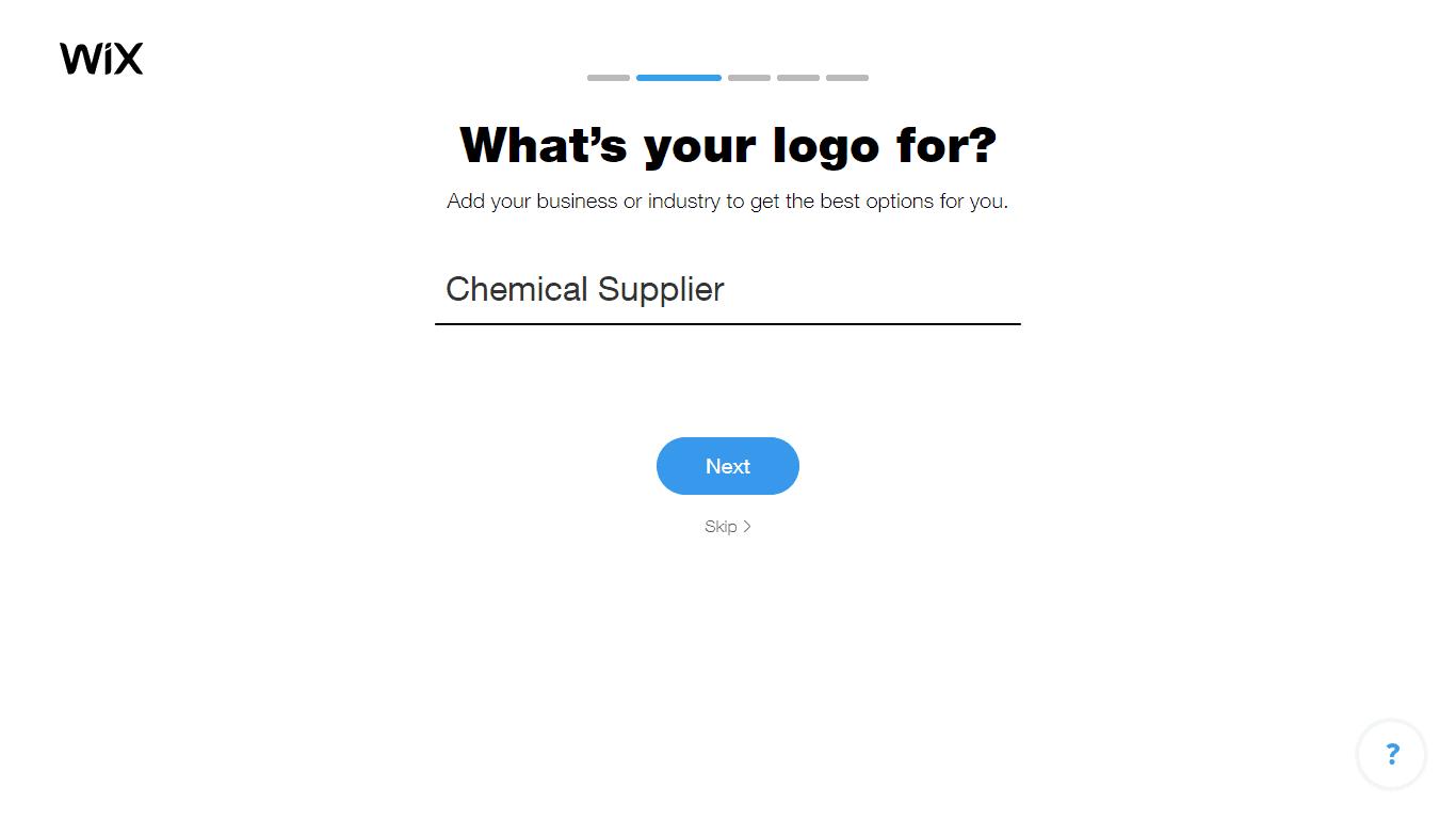 Wix Logo Maker screenshot - Choose industry option