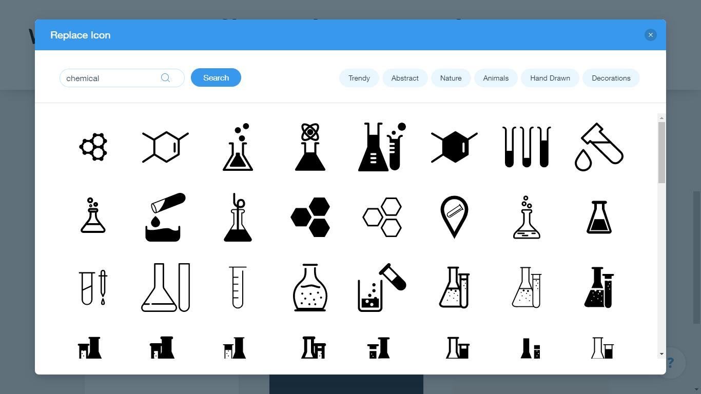 Wix Logo Maker screenshot - chemical icons
